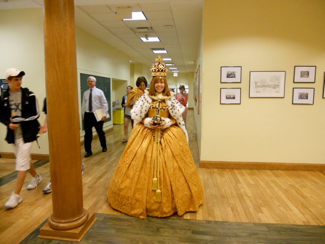 Linne wears her Challenge Project: her recreation of Queen Elizabeth I's coronation gown.