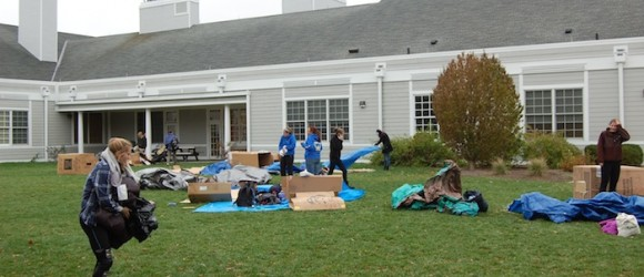 The Shanytown participants set up their boxes.